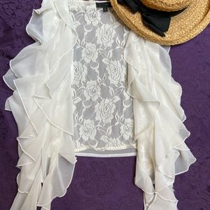 White Lace Vest with Ruffles